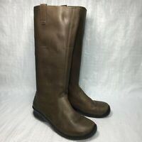 Keen KJ Blvd 53025-SLBK Brown Smooth Leather Pull On Womens Casual Boots Sz 8.5