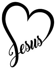 JESUS HEART Vinyl Decal Sticker Car Window Wall Bumper God Love Christ Bible