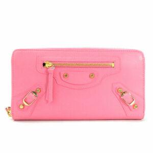 Auth BALENCIAGA Classic Continental Zip Around Long Wallet Pink/Gold - y15186g