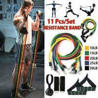 11pezzi Fasce Bande Elastiche di Resistenza Fitness Palestra di Resistenza Yoga