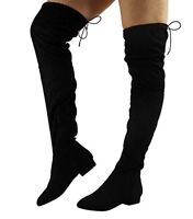 WOMENS LADIES THIGH HIGH BOOTS OVER THE KNEE PARTY STRETCH BLOCK HEEL SIZE 3-8