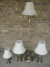 Set of 4 Matching Lamps - Floor, 2 Table, Accent - Brass Finish, Fabric Shades