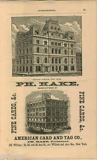 1876 ADVERT Masonic Temple New York Hake Cards Tags Co 155 William St 68 Ann Str