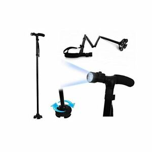 Foldable Adjustable Walking Hiking Aid Cane With Built in 6 Led Torch Light Lamp