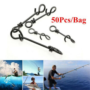 50Pcs Stainless Steel Connector Fishing Fastach Clip Fishing Snap Quickly Loc,