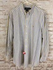 Ralph Lauren Classic Men's Dress Shirt Sz 16.5 - 33 Blue White Yellow Striped