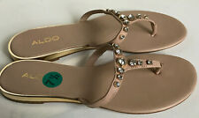 NEW! ALDO NUDE BROWN RHINESTONES STRAP SANDALS SHOES SLIPPERS 7.5 38 SALE