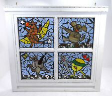 Hey Diddle Diddle Inlaid Stained Glass Window Mosaic Nursery Decor Sun Catcher