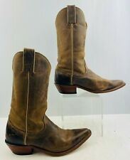 Ladies A&M Nocona Brown Leather Pointed Toe Western Cowgirl Boots Size: 8 B