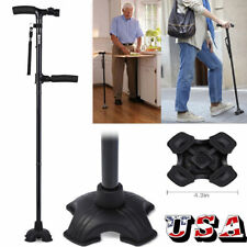 Handle Folding Cane With LED Lights Walking Stick Pivot Base Reliable Adjustable
