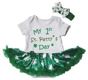 My 1st St.Patty's Day Cotton Bodysuit Green Clover Baby Dress NB-18M