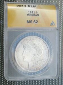 1921 MORGAN SILVER DOLLAR ANACS MS-62