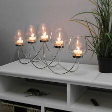 Teelichthalter 60x9xH25cm Kerzenständer Kerzenhalter inkl. 5 Gläser Windlicht
