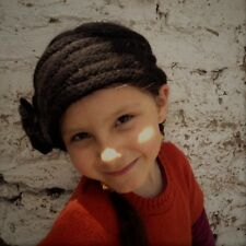 Warm Black Alpaca Wool Headband knitted with flower - Fair Trade, Made in Chile