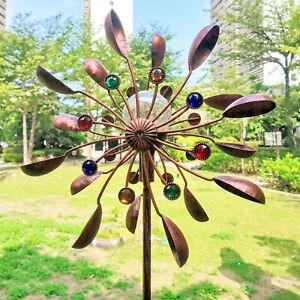 Solar Wind Spinner -Multi-Color LED Lighting Solar Powered Glass Ball Wind