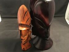 "Wood Carved ""Mask Face"" Busts – 2 Pieces Set (WC17-25)"