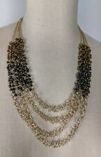 Coldwater Creek Gold Multi Strand Bead Statement Necklace NEW