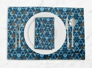 S4Sassy Circle Geometric Printed Dining Room Tablemats With Napkins set-GMD-574E