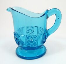 Antique Blue EAPG Stars & Bars Bellaire Goblet Glass Childs Creamer Pitcher