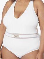 NWT La Blanca Women's V-Front Cross Back One Piece Swimsuit White Size 6
