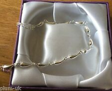 SB15 Plum UK 925 silver horn of plenty links adjustable chain bracelet GIFTBOXED
