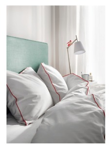 Ikea Kungsblomma King Quilt Cover and 2 pillowcases, 220x240cm, White/Red  New