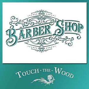 Shabby Chic STENCIL: Vintage Victorian Barber Shop Ad (DIY Print Transfer) #101