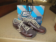 Womens Skechers BrownToffee Flat Leather Lace Up Shoes  size 7 With Box Mint