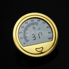 Round Electronic Digital Cigar Hygrometer Thermometer (Gold)