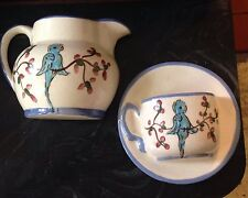Vintage Half Cup Wall Pocket And Half Tea Pot With Blue Bird Parakeet?
