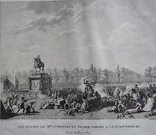 LES BUSTES DE Mrs D'ORLEANS ET NECKER PORTES A LA PLACE LOUIS XV,12 JUILLET 1789
