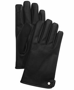 Calvin Klein Mens Gloves Black Size Large L Faux Leather Touch Screen $55 #375
