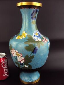 "HUGE 32CM/12.5"" Chinese Cloisonne Enamel Vase Oriental Antiques"