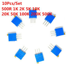 10pcs/Set 3296W Trimmer Potentiometer 1K 2K 5K 10K 20K 50K 100K 500K 200K 500R