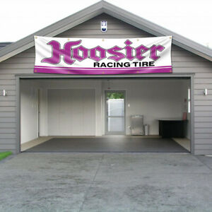 Hoosier Banner Flag 2X8Ft Racing Tire Sign Large Racing Car Show Garage Wall US