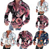 Men's Long Sleeve Floral Holiday Blouse Tops Tee Casual Slim Fit Muscle Shirts