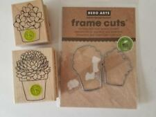 Hero Arts POTTED SUCCULENT Wood Mounted Rubber Stamps & FRAME CUTS Dies CACTUS