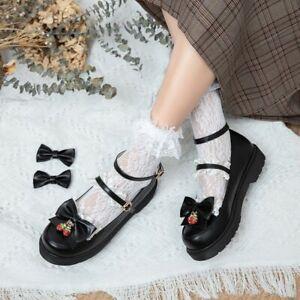 Girls Flat Ankle Strap Cute Bows Lolita Retro Shoes Round Toe Buckle School JK