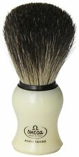Omega 13109 Creamy Curved Handle Pure 100% Badger Shaving Brush