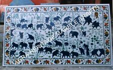 4'x2' White Marble Dining Outdoor Table Top Elephant Collectible Inlay Art H3493