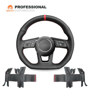 Custom Red Marker Genuine Leather Car Steering Wheel Cover for Audi A3 A4 A5 S5