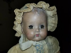 "VINTAGE IDEAL BABY DOLL CRY BOX "" CRIES"" 15-16"" ORIG  CLOTHES NEEDS REFURBISHING"