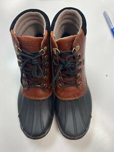 Sperry Men's Avenue Duck Rain Boot, Black/Amaretto, 9M