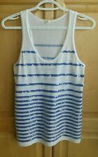 J.Crew Nautical Blue Striped Sequin Tank Top Sz: XS