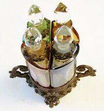 RARE ANTIQUE FRENCH BOUDOIR GLASS PERFUME SCENT BOTTLES IN ORNATE BRONZE ETUI