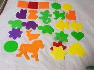 Lot of 23 PERLER BEADS/ melty beads Pegboards cat shapes dog dolphin car turtle