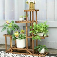 Weather-resistant Wood Plant Stands Flower Pot Shelf Garden Indoor Outdoor Decor