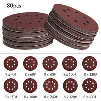 80pc Sanding Discs 125mm Pads 40-400 Mix Orbital Sander Hook Loop Sandpaper