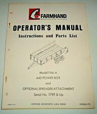 Farmhand F46 A 440 Power Box Operators Parts Manual Catalog Original 771