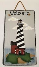 Hand Painted Welcome Lighthouse Slate Sign